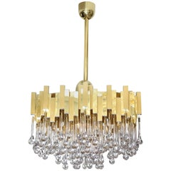 Gaetano Sciolari Brass Chandelier with Teardrop Glass