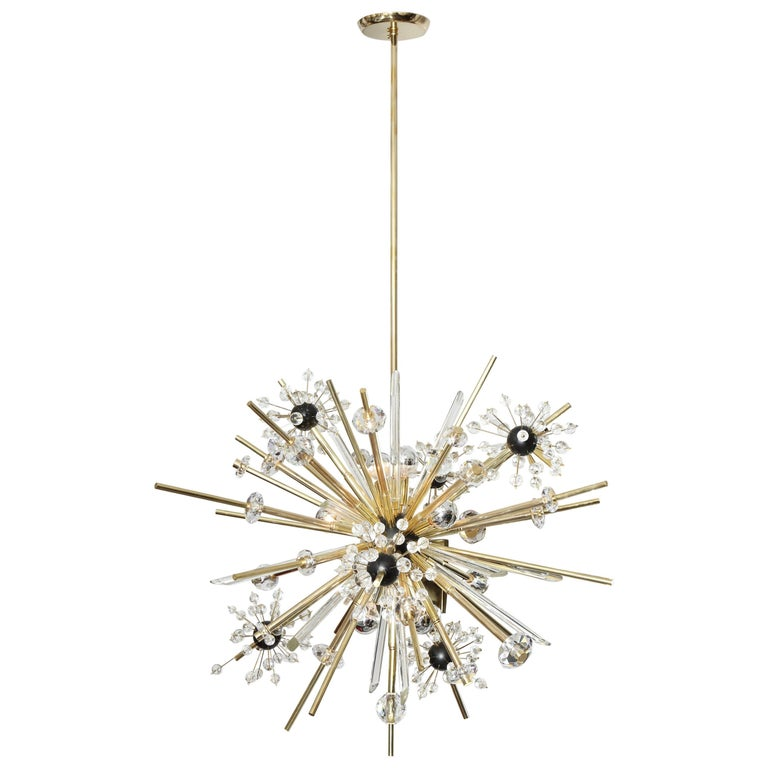 Brass and Austrian Crystal Sputnik Chandelier with Black Centre Spheres