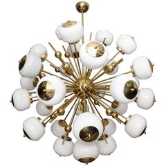 Italian Milk Glass and Brass Sputnik