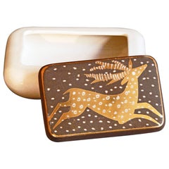 """Leaping Deer in Snow,"" Striking Art Deco Lidded Box by Waylande Gregory"