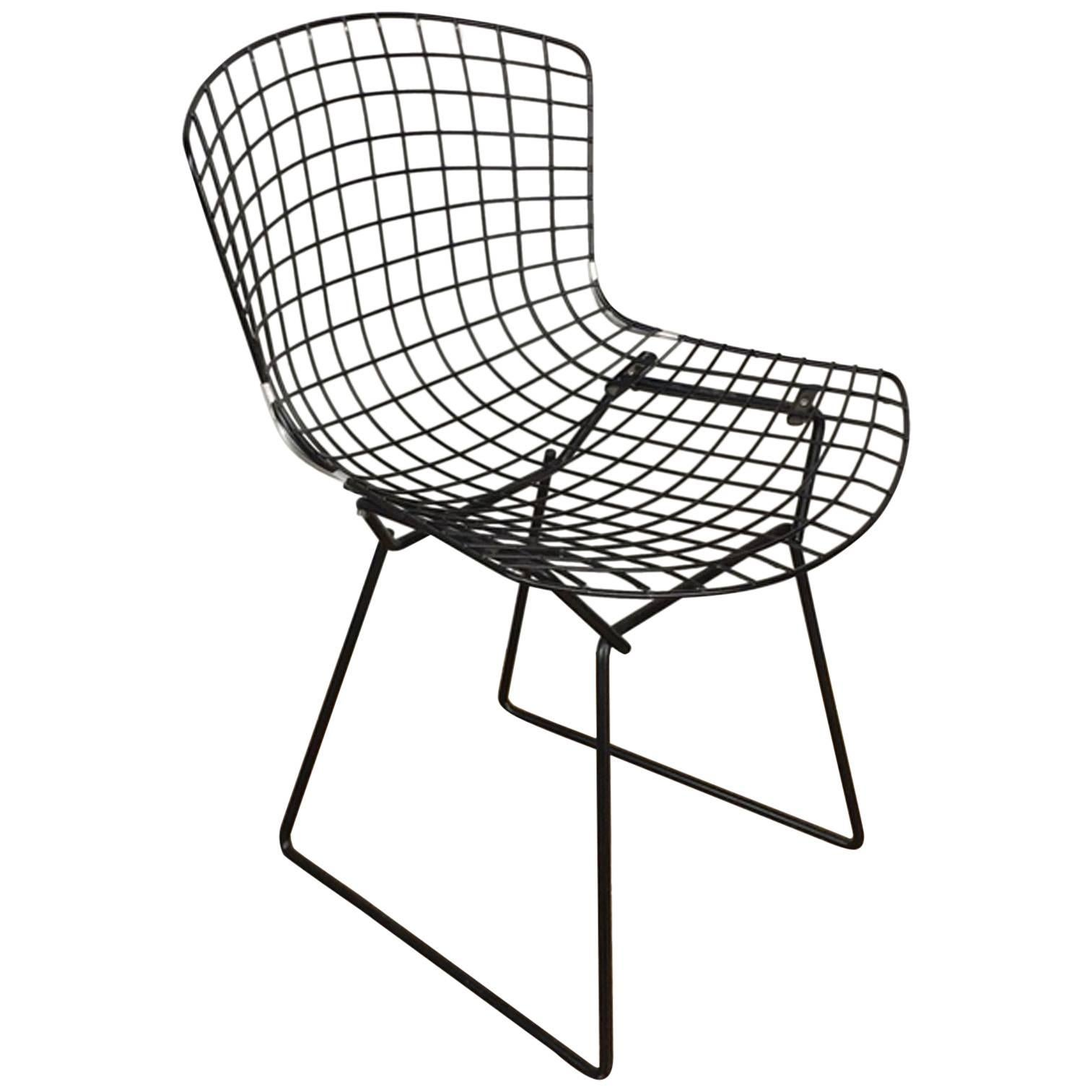 harry bertoia black wire side chair for knoll for sale at 1stdibs