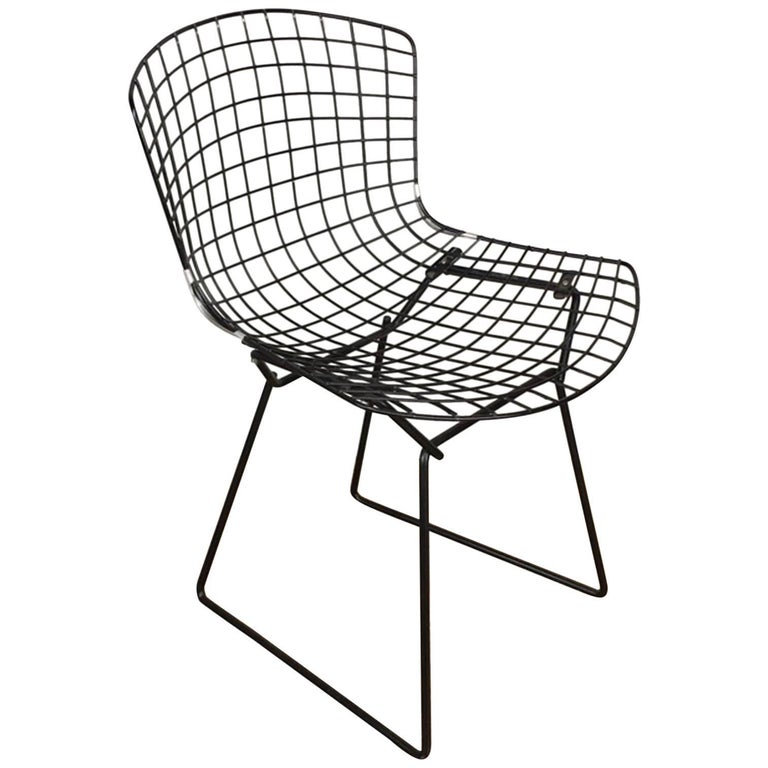 Harry Bertoia Black Wire Side Chair for Knoll
