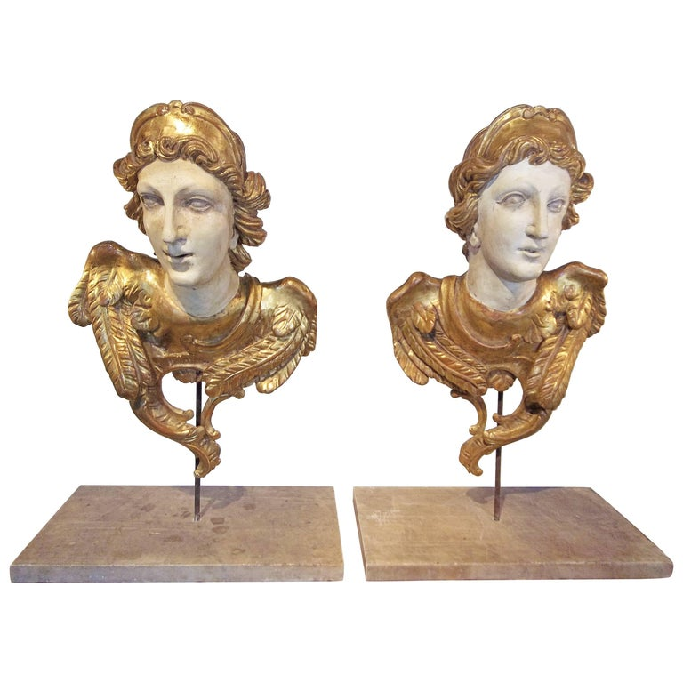 Large Pair of Carved Classical Giltwood Busts on Marble Bases For Sale