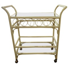Faux Rattan Midcentury Bar Cart