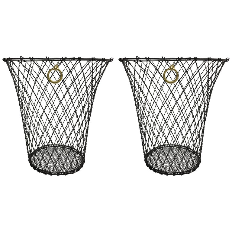 Two French Mid-Century Modern Wire Waste Baskets, Jacques Adnet For Sale