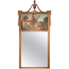 18th Century French Louis XVI Carved Giltwood Wall Trumeau Mirror from Provence