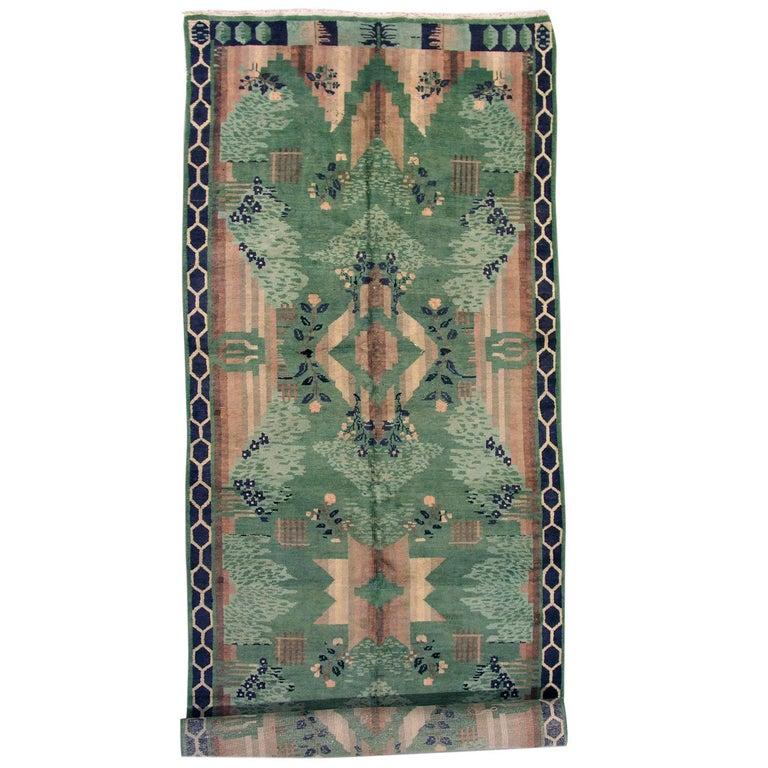 Green Antique European Art Deco Rug, Circa 1920 For Sale