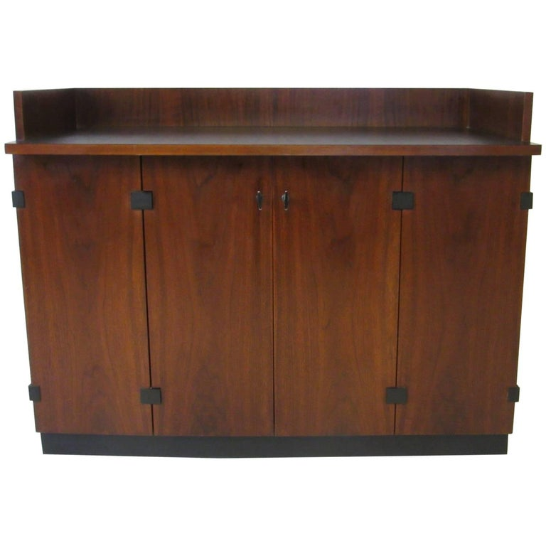 Milo Baughman Rolling Walnut Bar Cabinet for Directional