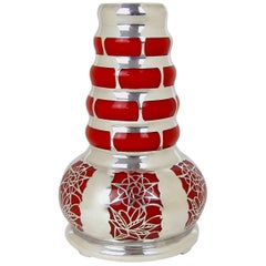 Continental Silver Overlay Orange Glass Vase