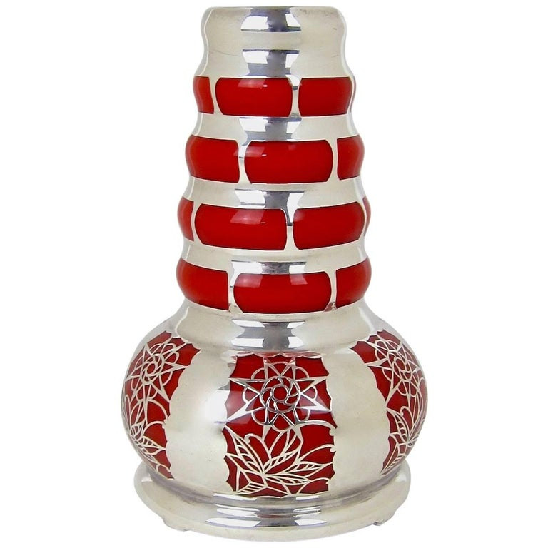 Silver Overlay Continental Vintage Glass Vase