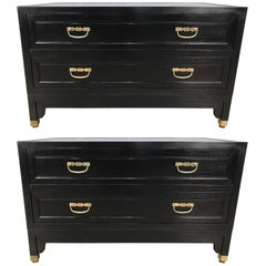 Pair of Baker Ebonized Campaign Style Chests or Nightstands