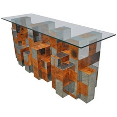"Paul Evans ""Cityscape Series"" Burl Wood and Chrome Console Table"