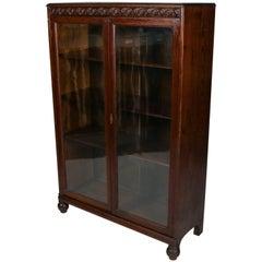 Horner Bros. Carved Oak Enclosed Bookcase, Scroll & Foliate Trim, circa 1900