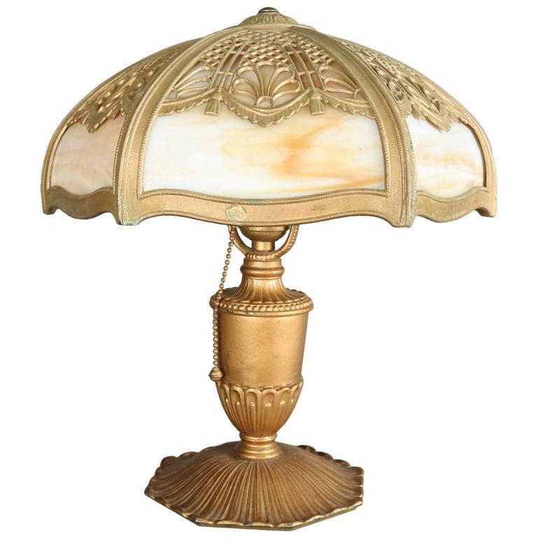 Antique Arts & Crafts Miller & Co Slag Glass Lamp, Filigree Shade, 1911 1