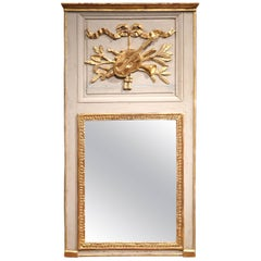 19th Century French Painted and Carved Giltwood Trumeau Mirror from Normandy