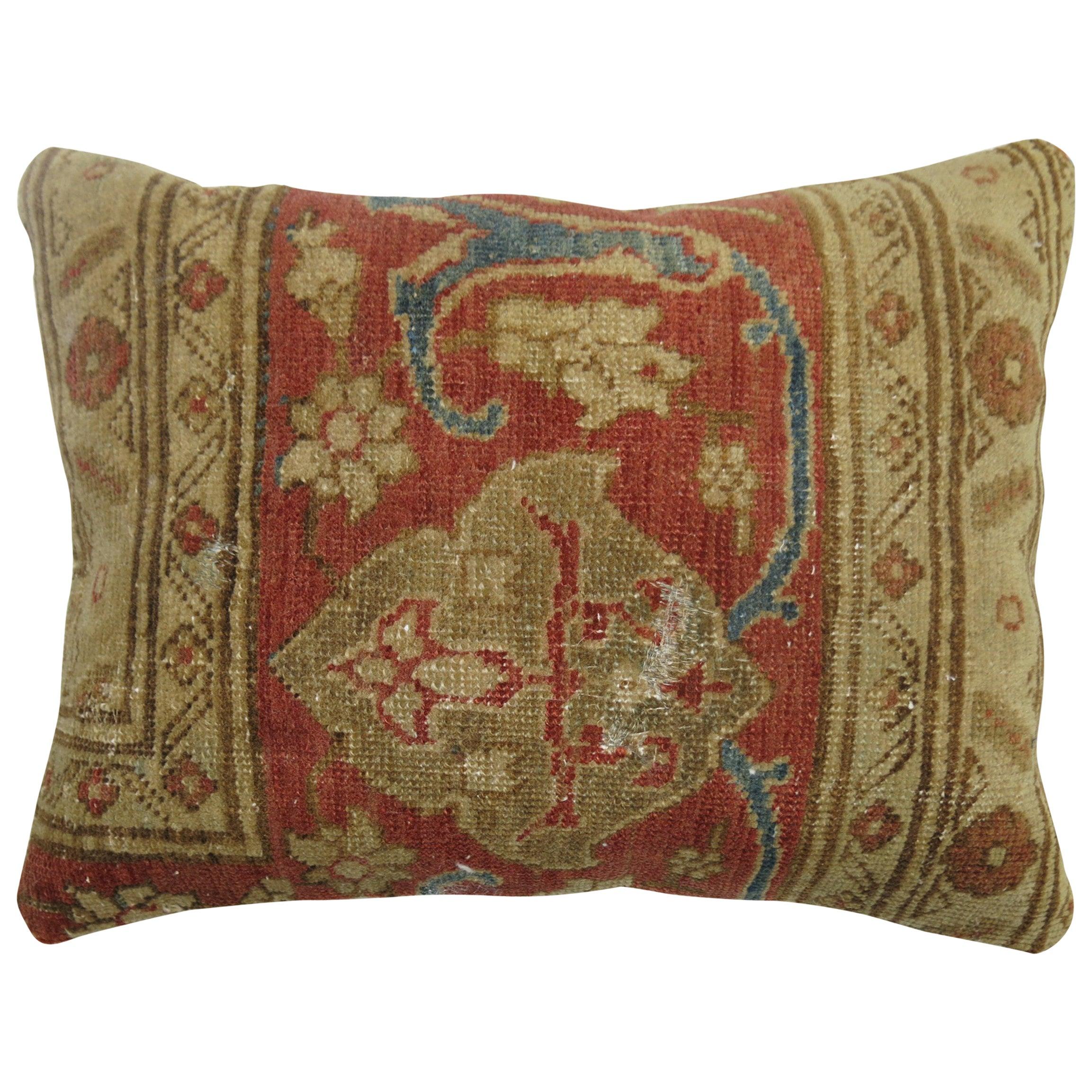 Terracotta Tabriz Border Rug Pillow
