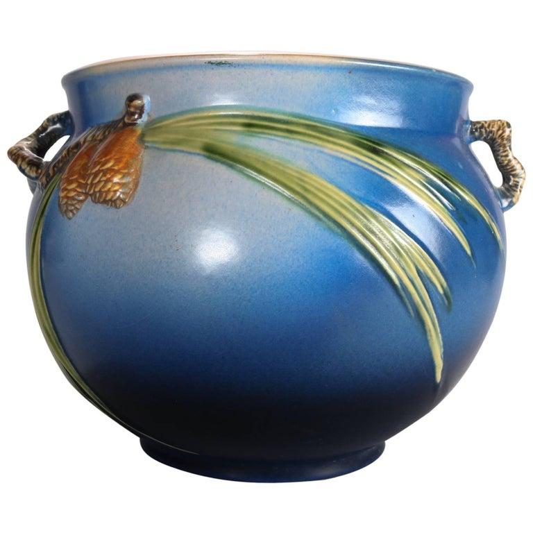 Oversized Roseville Art Pottery Pine Cone Jardiniere 632 10 Circa