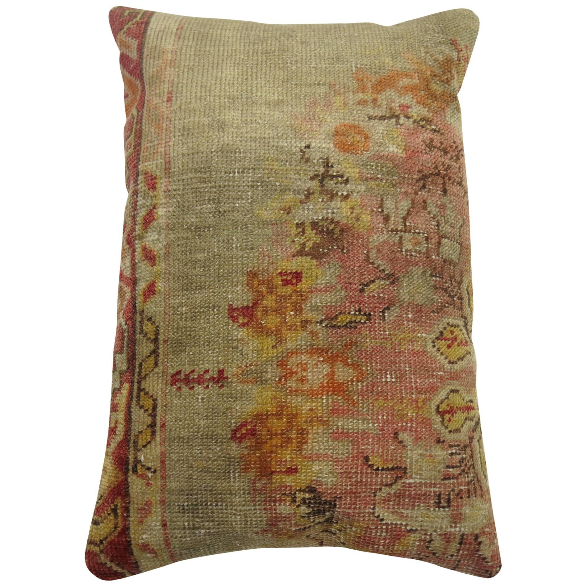 Blue Pink Vintage Oushak Rug Pillow