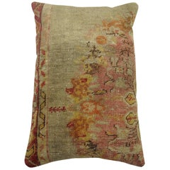 Blue Pink Vintage Oushak Rug Pillow