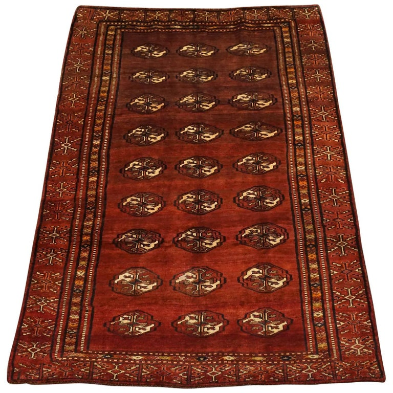 Antique Cotton Agra Rug With Abrash Circa 1900 For Sale: Persian Antique Bukhara Turkoman Rug With Abrash, Circa