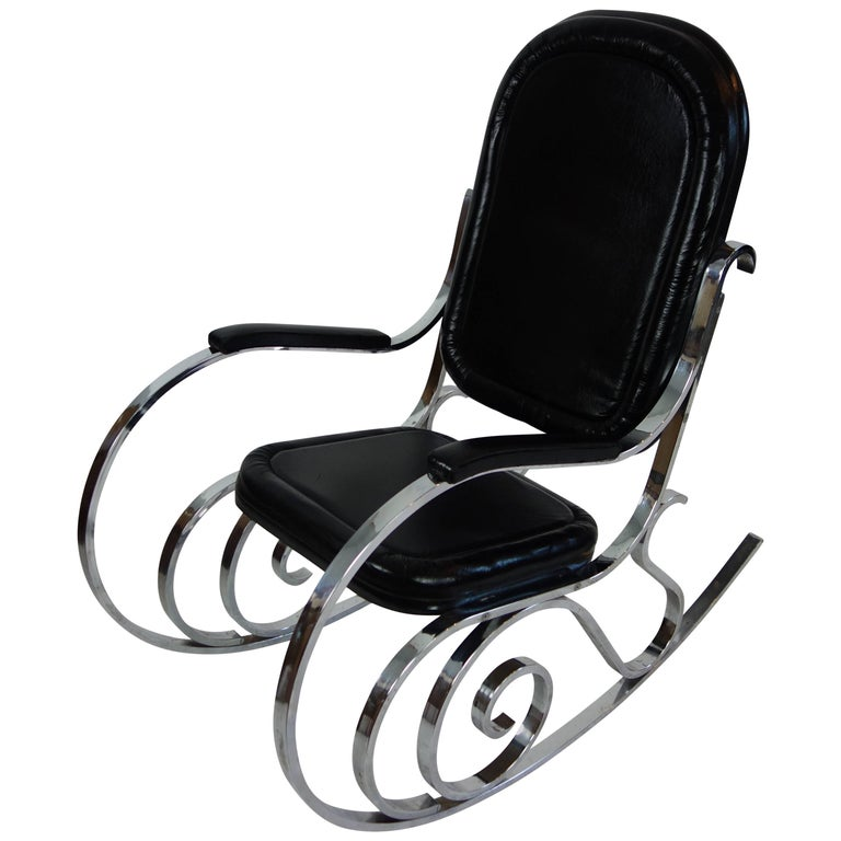 Maison Jansen Black Leather Rocking Chair