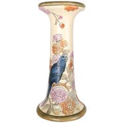 Antique Gilt & Painted Weller Pottery Pedestal Bird & Floral Motif, 19th Century