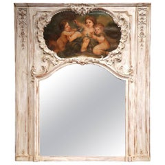 Mid-19th Century French Regence Carved and Painted Trumeau Mirror from Lyon