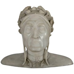Antique Italian Hand-Carved Marble Sculpture Bust of Dante Alighieri