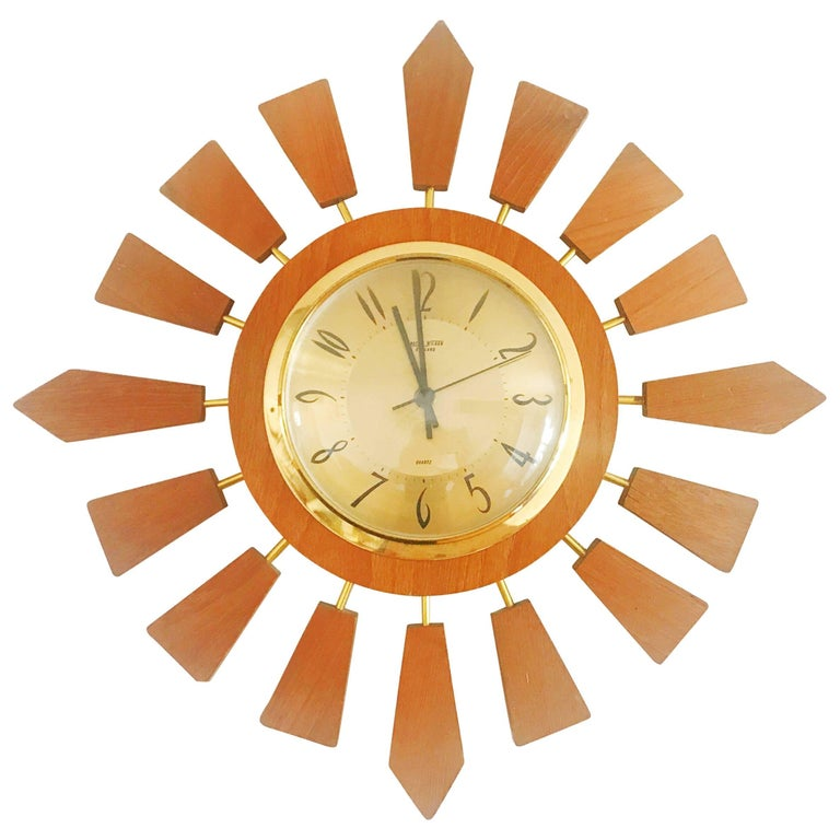 Anstey Wilson England Brass and Teak Sunburst Clock, Circa 1950 England For Sale