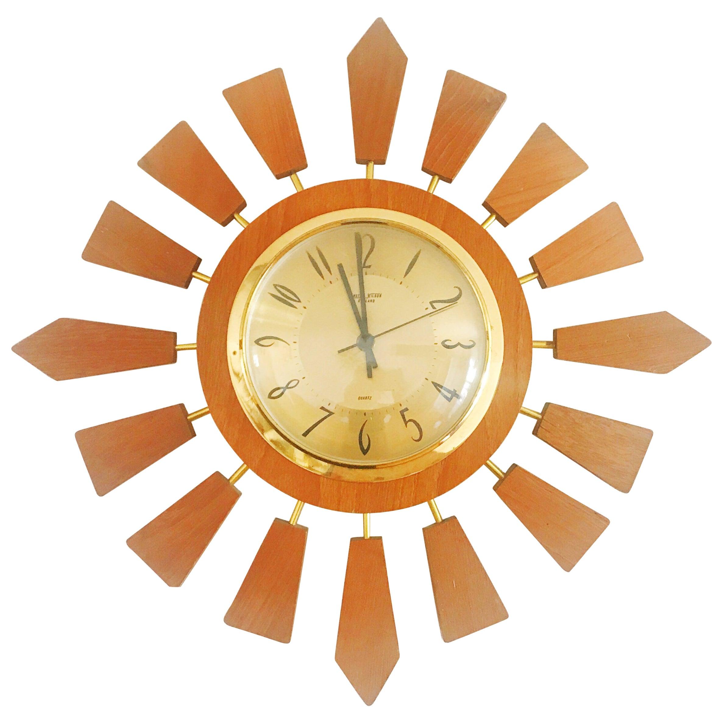 Anstey Wilson England Brass and Teak Sunburst Clock, Circa 1950 ...