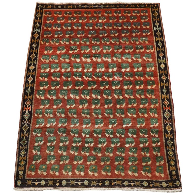 Antique Cotton Agra Rug With Abrash Circa 1900 For Sale: Antique Persian Tribal Rug With Flower Motif, Circa 1940
