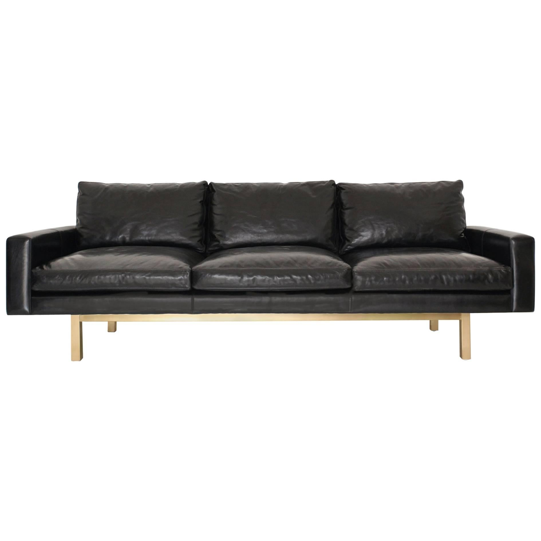 Contemporary Medium Standard Sofa in Black Leather with Brass Base