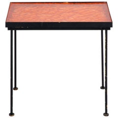 Orange Resin Top and Metal Side Table