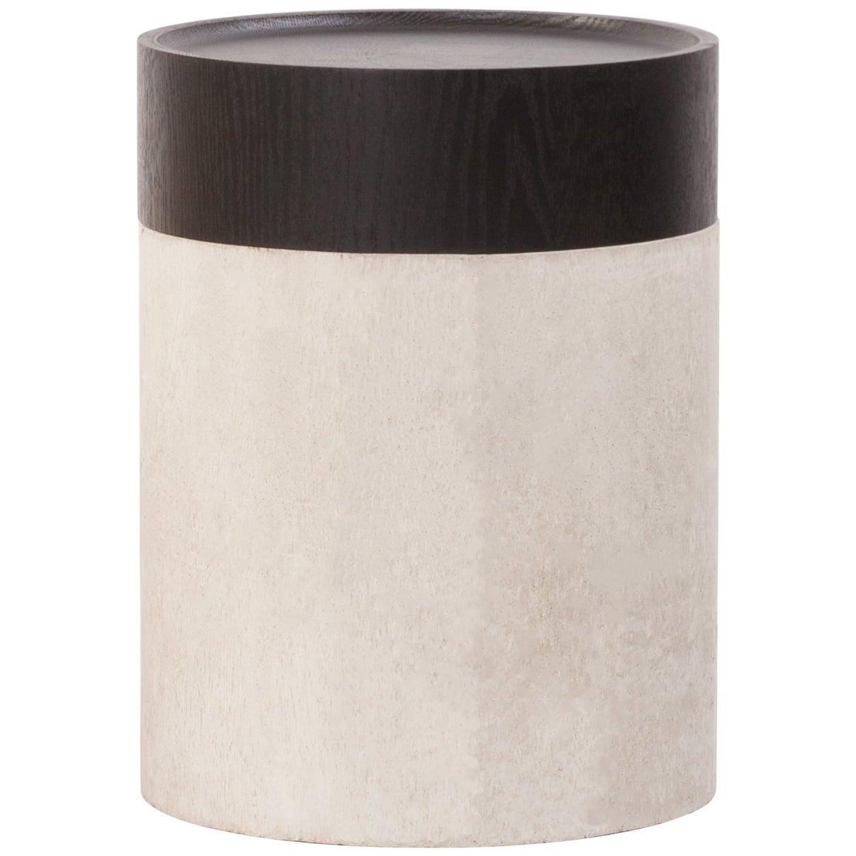 TOTEM Modern Side Table in Concrete & Stained Black Oak by Estudio Persona