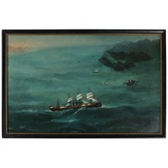 Antique Nautical Oil on Canvas Chinese Seascape Trade Painting of Sailing Ships