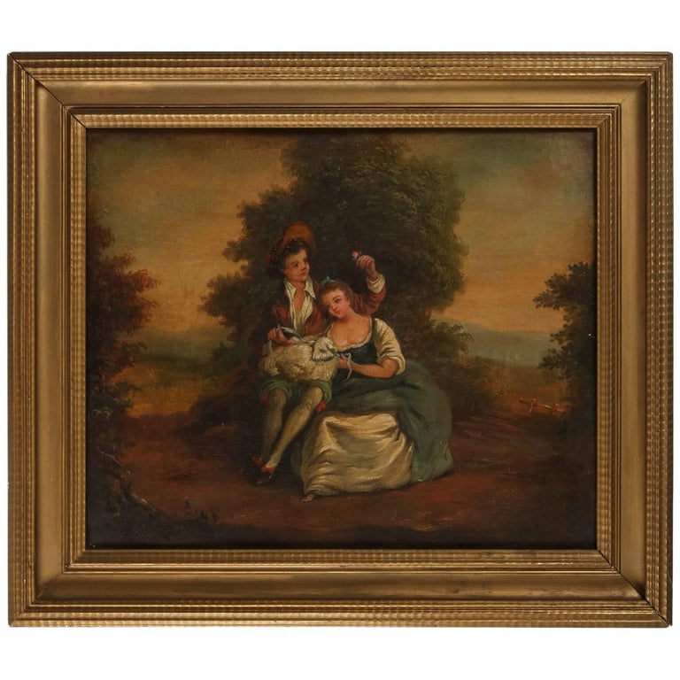 Antique English Oil on Canvas Painting of Landscape, Courting Couple, circa 1880