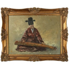 Chinese Oil on Canvas Signed Painting of Musician Playing a Guqin, 20th Century