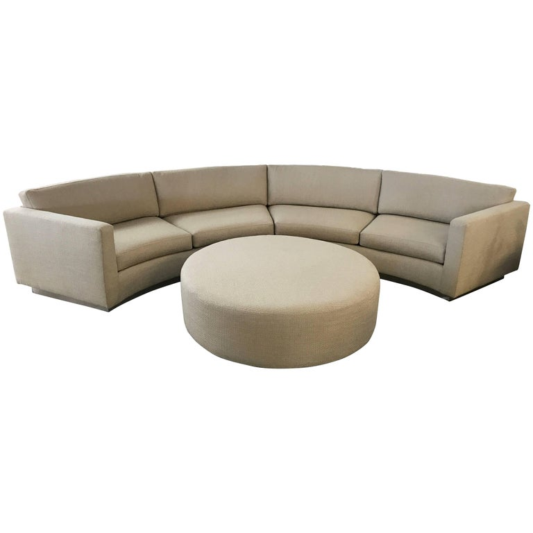 Thayer Coggin Milo Baughman Curved Sofa and Ottoman with Brushed Steel Plinth For Sale