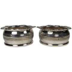 Decorative Pair of English William Adams Silver Plated Wine Coasters