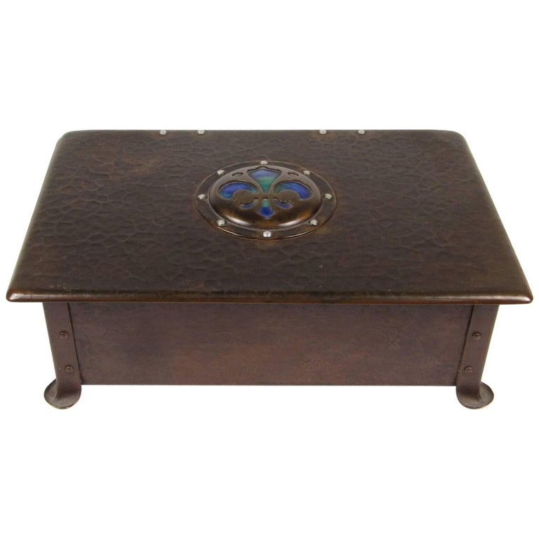 Cambray Ware Arts & Crafts Hand-Hammered Copper and Enamel Humidor
