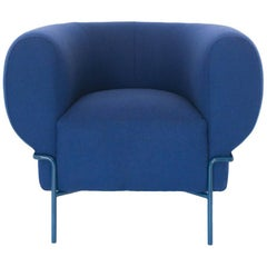 Contemporary Madda Lounge Chair in Blue Wool
