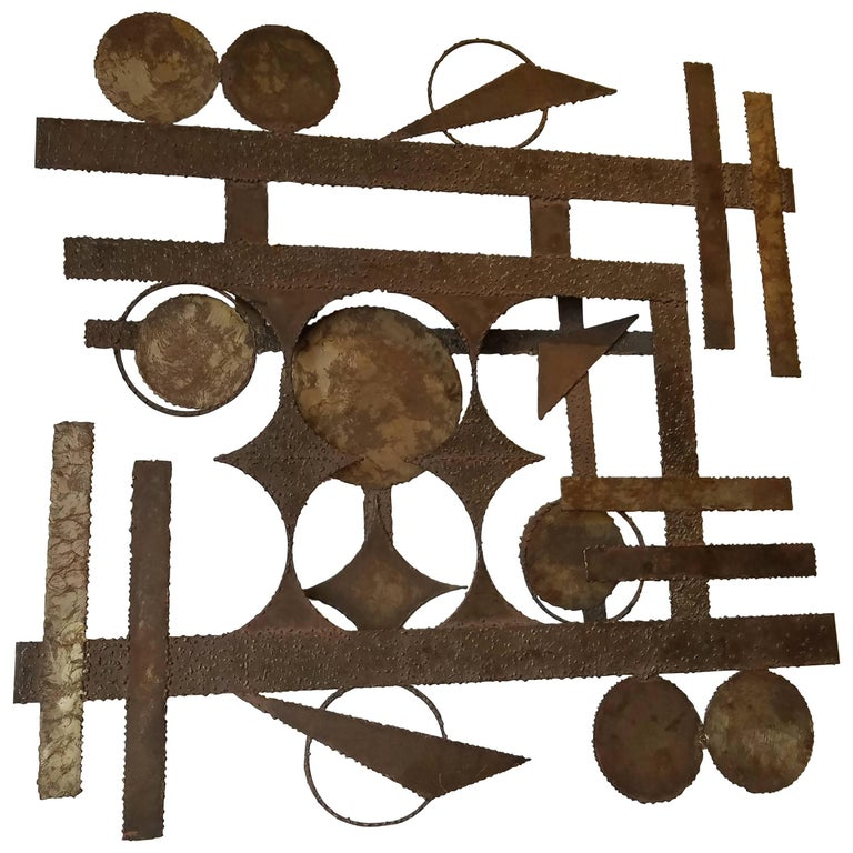 Striking Monumental Solid Raw Cut Steel Wall-Mounted Abstract Sculpture