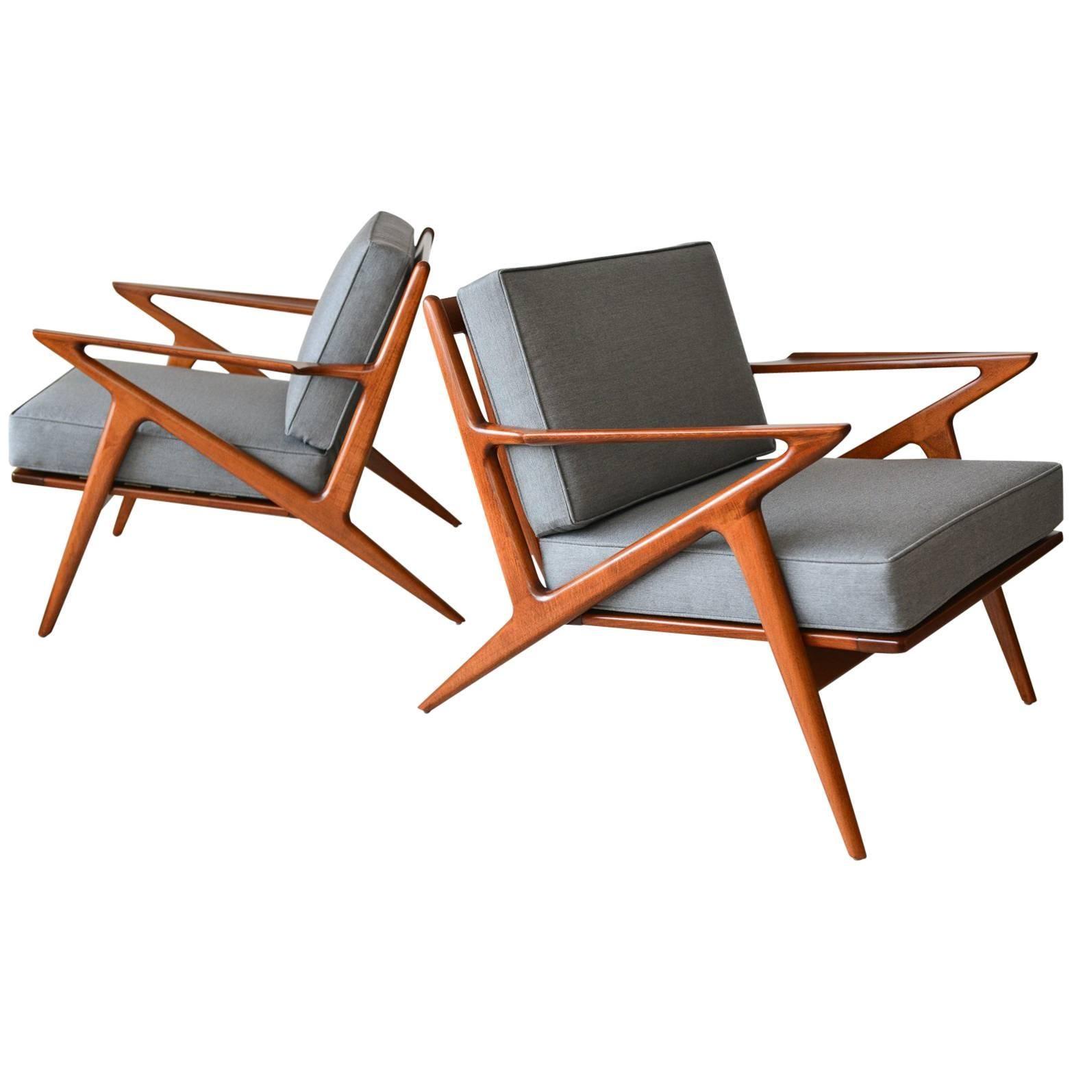 Pair Of Original Poul Jensen U0027Zu0027 Chairs By Selig, Circa 1960
