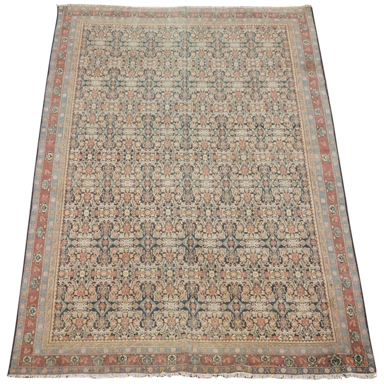 Antique Cotton Agra Rug With Abrash Circa 1900 For Sale: Vintage Cotton Indian Agra Rug At 1stdibs
