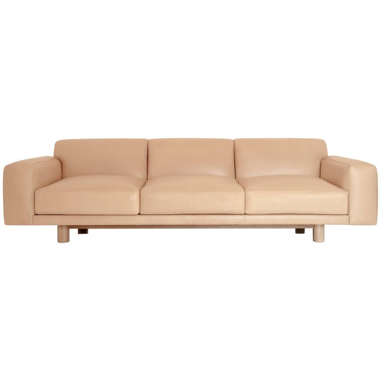 Contemporary Flora Sofa in Cane Leather with White Oak Base