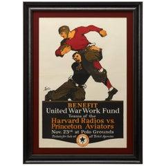 Harvard Radios vs. Princeton Aviators Vintage Football Poster, circa 1918