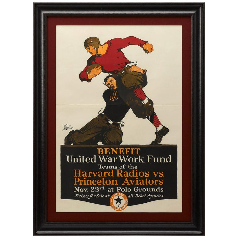 Harvard Radios vs. Princeton Aviators Vintage Football Poster, circa 1918 For Sale
