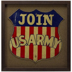 """Join U.S. Army"" World War II Era Railroad Recruitment Sign, circa 1940"