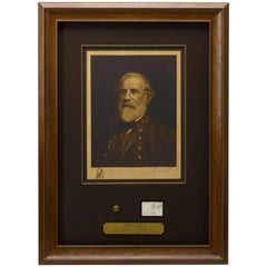 Robert E. Lee Autograph with Period Confederate Officers Uniform Button