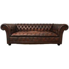 Vintage Brown Leather Chesterfield